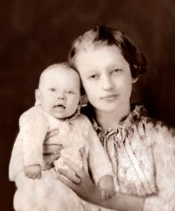 My mother as a baby with her mother, Vada Dailey Jones.